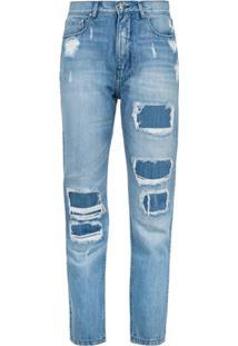 Amapô Calça Mom Jeans Com Puídos - Azul