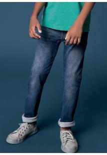 Calça De Moletom Jeans Infantil Menino Com Elastano Hering Kids