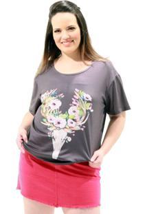 Camiseta Cervo Flores Plus Size Cinza