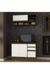 Cozinha Compacta 2 Peças 3 Portas Safira Siena Móveis Avelã Tx/Branco Tx