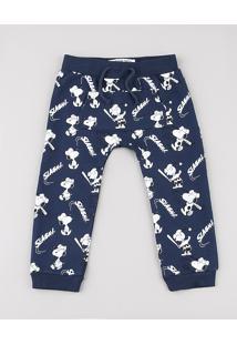 Calça Infantil Snoopy Estampada Em Moletom Com Bolso Azul Marinho