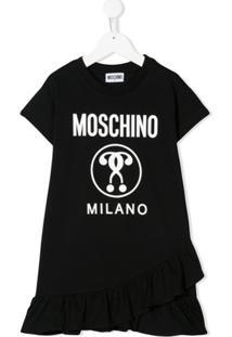 Moschino Kids Vestido Reto Com Estampa De Logo - Preto