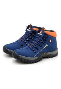 Bota Coturno Parra Boots Tenis Masculino Adventure Azul E Laranja