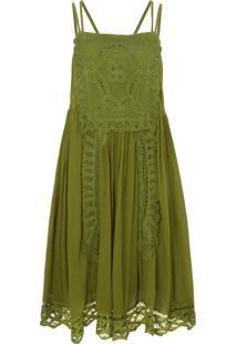 Vestido Decote Quadrado Renda Farm - Verde