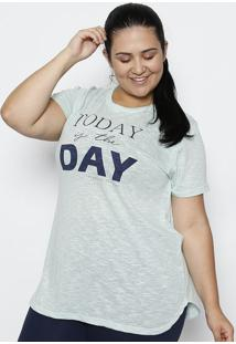 "Camiseta Flam㪠""Today Is The Day""- Verde Claro & Azul"