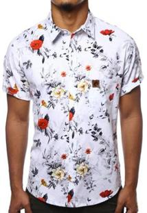 Camisa Camaleão Urbano Floral Rosas Masculina - Masculino-Branco