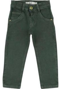 Calça Infantil Look Jeans Skinny Collor Masculina - Masculino-Verde