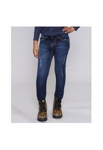 Calça Jeans Infantil Com Puídos E Bolsos Azul Escuro
