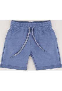 Bermuda Infantil Em Moletom Com Bolso Azul