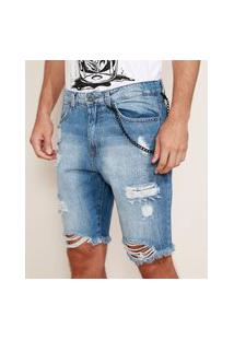Bermuda Jeans Masculina Slim Destroyed Com Corrente Removível Azul Médio