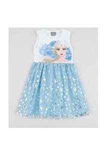 Vestido Infantil Elsa Frozen Com Brilho E Tule Sem Manga Branca