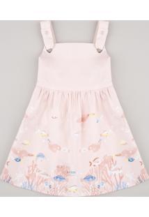 Vestido Infantil Peixinhos Alças Com Ilhós Rosê