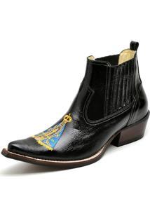 Botina Bota Country Bico Fino Top Franca Shoes Verniz Preta