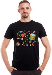 Camiseta Geek10 Hipster Kombi Hippie Preta