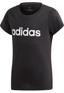 Camiseta Infantil Adidas Estampa Logo Yg Lin Tee Feminina - Feminino-Preto+Nude
