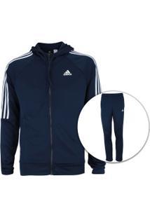 Agasalho Com Capuz Adidas Refocus - Masculino - Azul Esc Branco 92e73399fb4c5