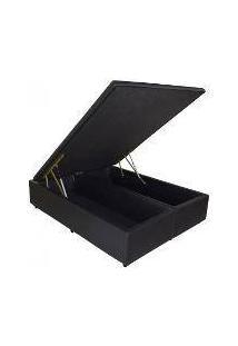 Cama Box Baú Bipartido Premium Queem 158 X 198 Pistão A Gás Corino Preto (Tampo Inteiro)
