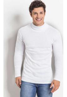 Blusa Manga Longa Com Gola Rolê Branca