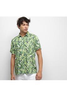 Camisa Colcci Folhagem Relax Masculina - Masculino-Verde+Branco