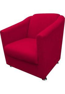 Poltrona Decorativa Tilla Pés Cromado Suede Vermelho - Ds Móveis - Kanui