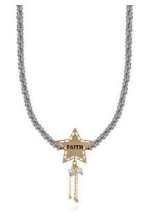 Colar Wishes Faith Amarelo Com Labradorita