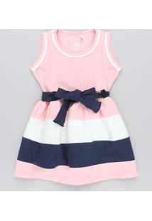 Vestido Infantil Com Recortes E Laço Rosa