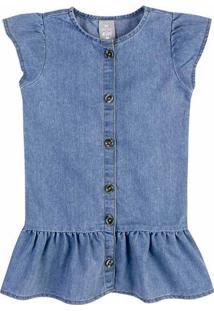 Vestido Jeans Infantil Com Botões Toddler Hering Kids