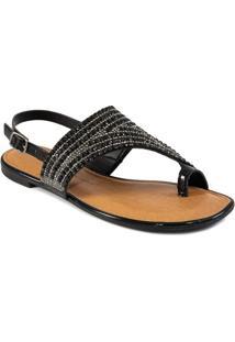 Sandália Assimétrica Bico Quadrado Pedrarias Dakota Z6522