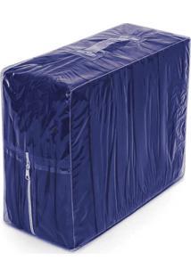Capa De Sofá Bordados Ricardo Elasticada 02 Peças Azul Escuro