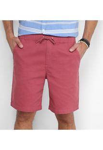 Bermuda Foxton Sarja Amarração Bolso Faca Masculina - Masculino-Vermelho