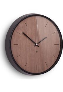 Relógio De Parede Madera 31,8 Cm Aro Alumínio Madeira Cor Nogueira Umbra
