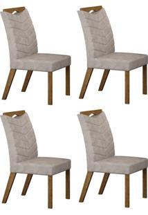 Conjunto Com 4 Cadeiras Verona Ipê E Pena Palha