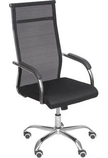 Cadeira Office Toronto- Preta & Prateada- 106X54X48Cor Design