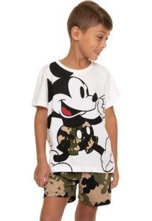 Pijama Curto Infantil Menino Exército Mickey Com Algodão