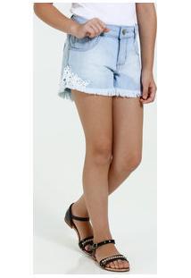 Short Infantil Jeans Desfiado Bordado Marisa