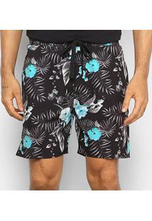 Bermuda Gajang Floral Masculina - Masculino-Preto