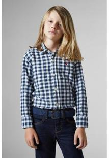Camisa Pf Regular Vichy Botone Reserva Mini Infantil Masculina - Masculino-Marinho