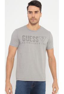 """Camiseta """"Guess® Established 1981""""- Cinza Claro & Cinza"""