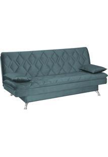 Sofá Cama Sala De Estar 193Cm Belinda Com Pés Alumínio Veludo Azul Tiffany Gran Belo