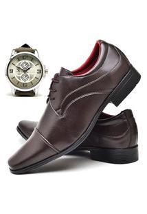 Sapato Social Fashion Com Relógio New Dubuy 832El Marrom