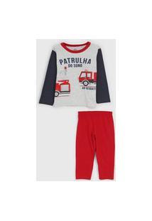 Pijama Brandili Longo Infantil Full Print Cinza/Vermelho