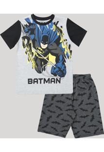 Pijama Infantil Batman Manga Curta Preto