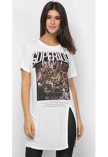 Tshirt My Favorite Thing Alongada Com Fenda Feminina - Feminino-Gelo