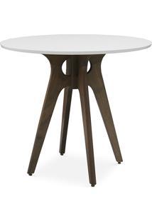 Mesa 4 Cadeiras Redonda Bianchi 90X77Cm Nogueira E Branco