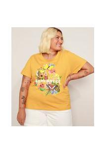 Camiseta Feminina Plus Size Borboletas Manga Curta Mostarda