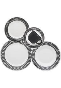 Aparelho De Jantar 30 Peças Actual Nativa Biona Preto E Branco