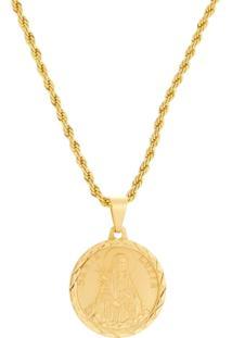 Gargantilha Santa Luzia Com Corrente Modelo Baiana Tudo Jóias Folheada A Ouro 18K Dourada