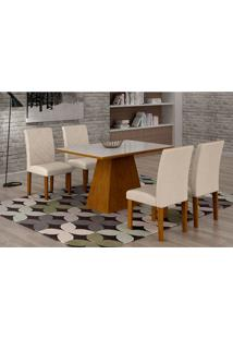 Conjunto De Mesa De Jantar Luna Com Vidro E 4 Cadeiras Ane Ii Veludo Imbuia E Branco