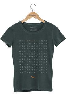 Camiseta Forseti Estonada Caça Palavras Verde