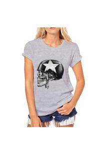 Camiseta Coolest Caveira Capacete Cinza